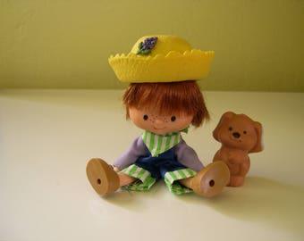 Vintage Strawberry Shortcake Huckleberry Pie Doll with Pet Dog Pupcake