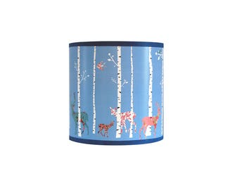 """Child lamp Applique """"birch forest and animals liberty"""""""