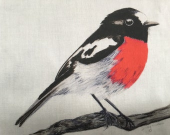Scarelt Robin  red breasted robin Fabric penel by Cindy Watkins  Cotton fabric Birds. Australia. Sewing and quilting supplies.