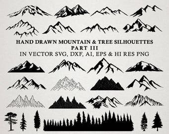Hand Drawn Mountain Clipart - Mountain Silhouette & Nature Rustic Tree Clipart Clip art PNG Vector EPS, AI Design Element Instant Download