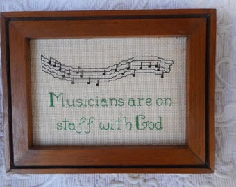 Vintage Counted Cross Stitch Framed  Picture-Musician Theme-Musical Notes