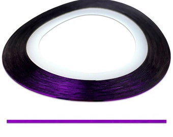 Purple 0.4 mm Nail Striping Tape - No Glue Needed! - For Nail Art, Nail Designs and Patterns, Creating Flawless Manicures and Pedicures