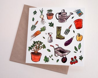 Gardening Art Greeting Card | Any Occasion | Blank Inside