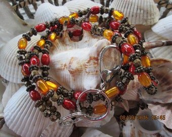803  Amber and Orange glass beaded handmade id badge lanyard