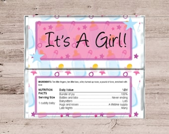 It's A Girl Personalized Chocolate Bar Wrapper-Baby Shower Chocolate Bar Wrapper-Gender Reveal Candy Bar Wrapper-Personalized Candy Bar-DIY