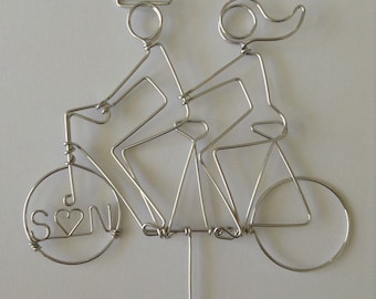 Extra SMALL Silhouette PERSONALIZED Tandem Riders Wedding Cake Topper