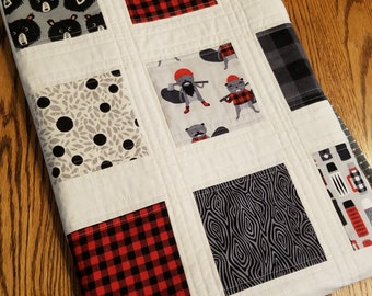 Handmade Adventure Quilt with Bears, Beavers, Plaid in Red, Gray and Black for Baby, Toddler or Adult lap
