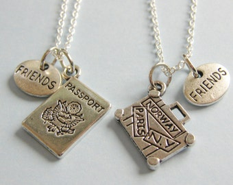 2 Best Friends Travelling Suitcase Passport Necklaces Bff