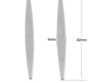 2 Pieces Stainless Steel Flat Pendant Long and Thin 42mm