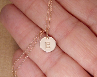 Tiny Rose gold initial necklace - Dainty initial - Small initial - Letter necklace - Personalized disc jewelry - Custom Initial tag
