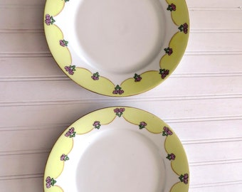 Vintage Hand Painted Flowers Yellow and Pink Decorative Plate