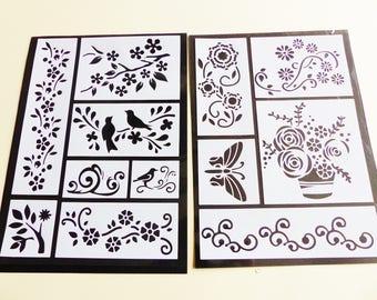 stencil flexible stickers bird leaf branch Butterfly flower 12 stencils in 2 sheets