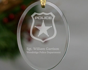 Police Officer Engraved Oval Glass Ornament - Personalized with Name & Department