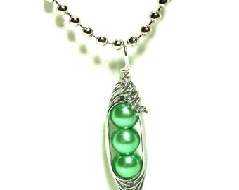 Peas in a Pod, Pea Pod Necklace, Mint Green Pearl