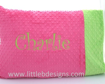 STANDARD Personalized Pillow Case - Choose From Over 24 Different Minky Colors