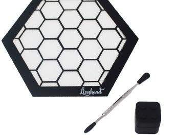 """Silicone Mat - 8"""" Silicone Mat + 5"""" Dab Tool + 7ml Container - Honeycomb"""