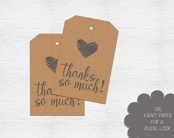 INSTANT DOWNLOAD - Printable Thanks So Much Tag - Digital Download - Instant Download - DIY Tag Template - Handmade Gift Tag - KS115