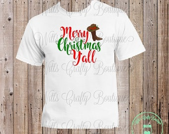 Merry Christmas Y'all With Boot and Hat Christmas Tee Shirt
