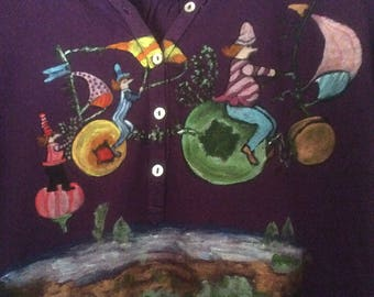 """""""Travel"""" on purple t-shirt, long sleeves, size 1"""