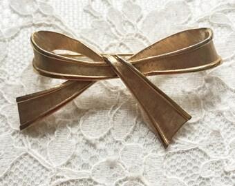 Vintage Trifari Gold Bow Brooch, Vintage, Trifari Brooch