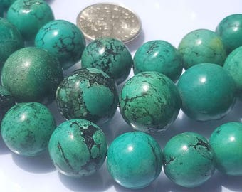 Green Turquoise round beads.Strand 14Inches long.Jewelry making-Necklace-Bracelet.