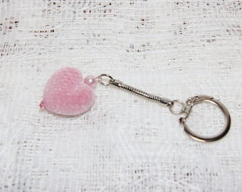 "Pink Flocked Velvet Heart Keychain--""Fuzzy Feeling"""