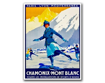 Ski Poster Ice Skating Sports Art France Retro Decor Vintage Print (H184)