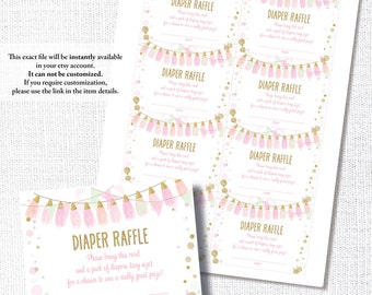 PINK & GOLD TASSEL mint baby girl shower diaper raffle ticket insert card instant digital download diy printable file gold glitter
