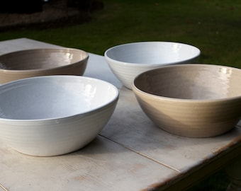 Large artisan crafted serving bowls