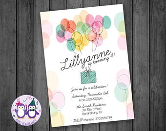 Party Balloons Birthday Party Invitation