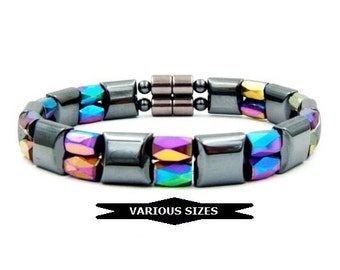 Double Line Magnetic Bracelet, Magnetic Hematite Bracelet, Magnetic Therapy Bracelet with two Magnetic Clasps #MHB-122