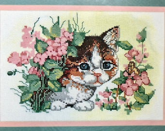 Counted Cross Stitch Kit PEEPING TOM Cute Kitty Cat Flowers Butterfly Garden Calico Cat Bucilla Vintage
