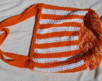 Crochet Orange and White Tote