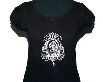 Gothic shirt - Cameo Lady skull - Gr. M - Black and white