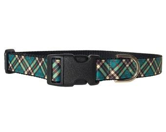 Green Plaid Dog Collar - Adjustable, Tartan, Teal