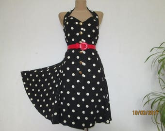 Buttoned Circle Dress / Dress Vintage / White Polka Dots Dress / Backless Dress / Open Back Dress / Size EUR4 / UK16 / Sleeveles Dress