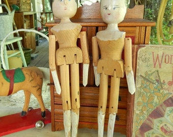 """2 Antique Wooden Grodnertal Style ~ Jointed Dolls ~ Lot Of Two Vintage Penny Peg ~ 11.5"""" & 12"""" Dolls ~"""