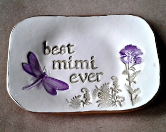 Ceramic MIMI Trinket  Dish edged in gold Mothers Day Gift