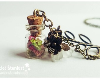 BLOSSOM - real flowers in a tiny bottle. botanical necklace.