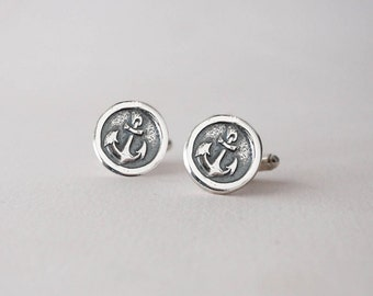 Anchor Cufflinks -  Sterling Silver Nautical CuffLinks - Wax Seal Cuff Links -  Wedding Cuff Links Anchor Cuff links