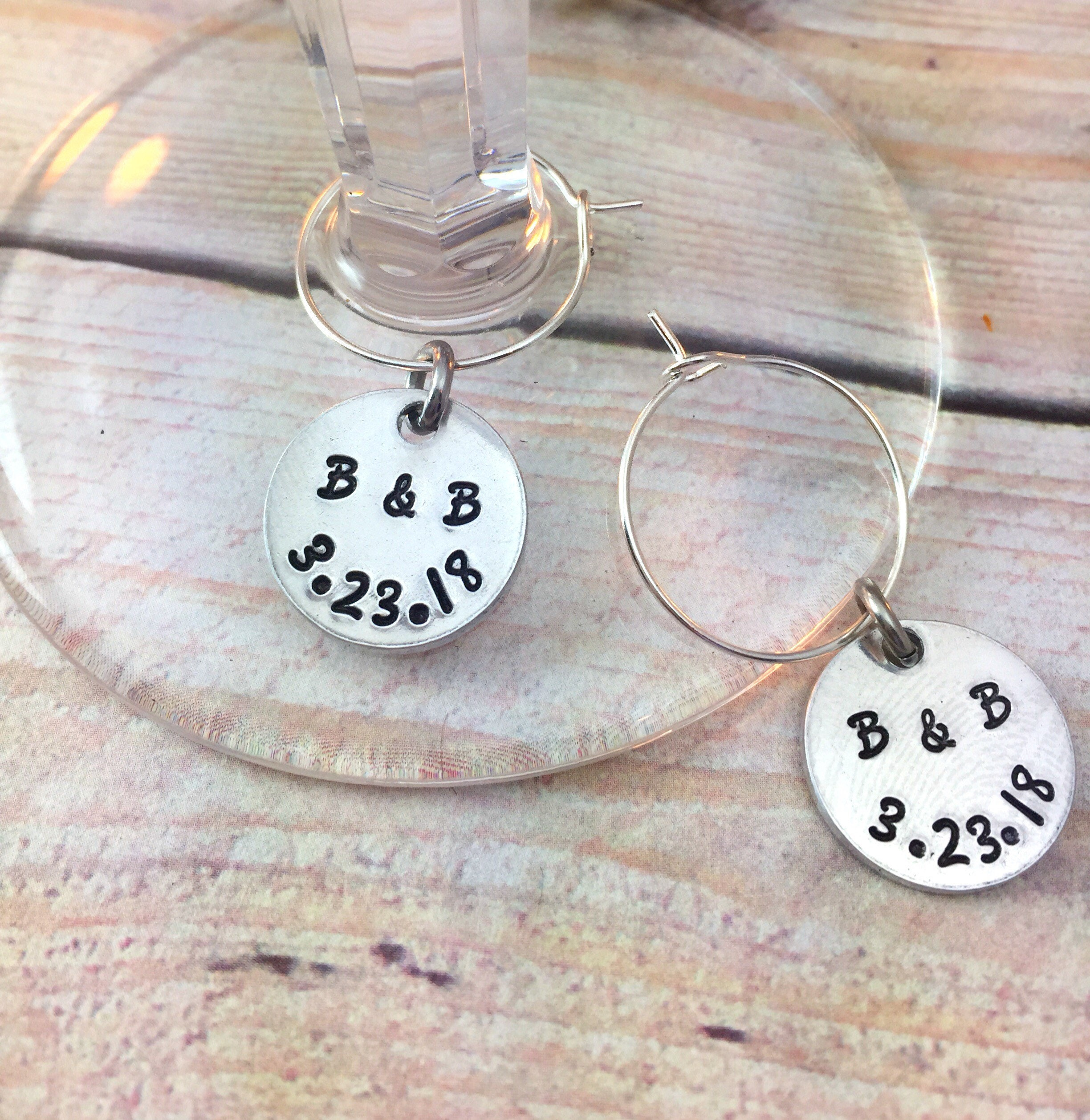 Wine Glass Personalized Charms Wedding Favors Wedding