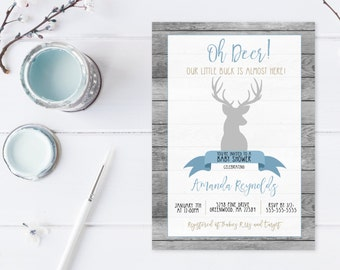 Woodland Baby Shower Invitation, Boy Baby Shower Invitation, Oh Deer Baby Shower Invite, Boy Shower Invite, Rustic Baby Shower Invite [559]