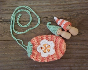 Necklace-pouch and two mini peg dolls, Waldorf inspired, crochet pouch, tiny gnomes
