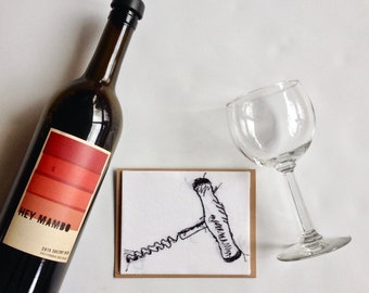 Art Cards---Stitched Wine Pull