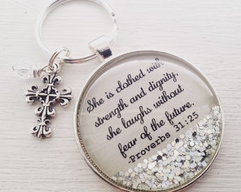 """Proverbs 31 personalized keychain, """"She is clothed with strength and dignity"""", bible verse keychain, Christian gift, cross keychain"""