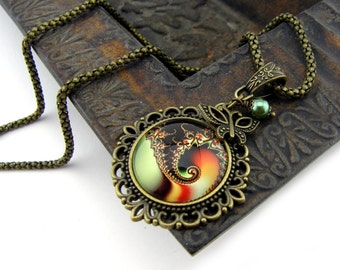 Fractal Necklace, Vintage Style Necklace, Bronze, Sacred Geometry Jewelry, Fibonacci Necklace, Spiral, Swirl, Antiqued, Orange & Green