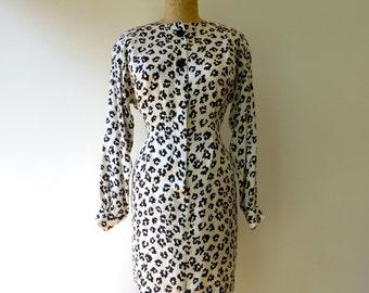 Vintage Black and White Leopard Print Silk Dress/1980's Cheetah Print Silk Dress/80's Animal Print Dress/Liz Claiborne/Small-Medium