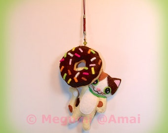 Hand-stitched Felt Kitty and Chocolate Glazed Doughnut Ornament Charm food fried pastry treat shop doll cat pet cute bag purse zipper pull