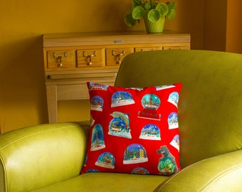 Snowdome Throw Pillow Cover - photos of vintage snow globes - custom backgrounds - 2-sided printing - 3 sizes
