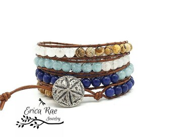 Leather wrap bracelet, lapis bracelet, aquamarine gemstone bracelet, beach bracelet, leather bracelet, boho wrap bracelet, sand dollar